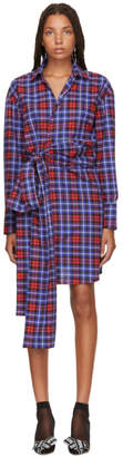MSGM Red and Blue Plaid Shirt Dress