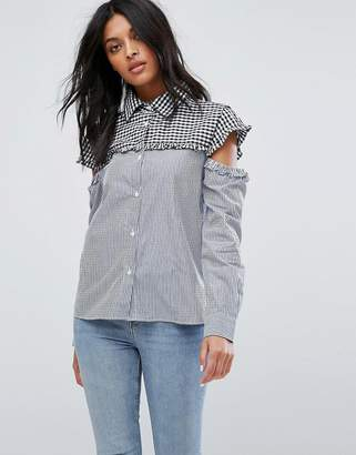 Marvin Walter Baker Cut Out Sleeve Gingham Stripe Shirt