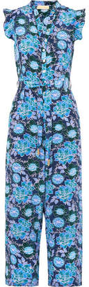 Jagger Paloma Blue Floral-print Silk Crepe De Chine Jumpsuit - Navy