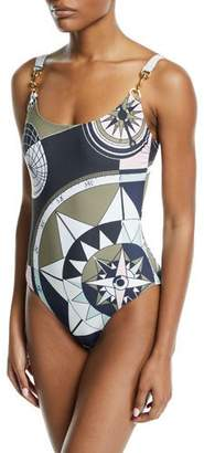 Tory Burch Constellation Printed Tank One-piece Swimsuit