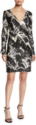 Escada V-Neck Long-Sleeve Beaded-Fringe Lightning Cocktail Dress