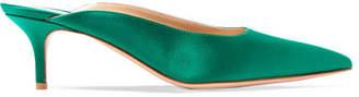 Gianvito Rossi 55 Satin Mules - Emerald
