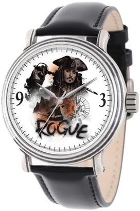 Disney Pirates of the Caribbean 5 Captain Jack Sparrow Men's Antique Silver Vintage Alloy Watch, Black Leather Strap