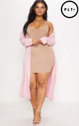 PrettyLittleThing Plus Dusty Pink Crepe Maxi Duster Jacket
