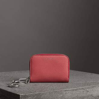 Burberry Link Detail Leather Ziparound Wallet, Red