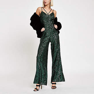 River Island Womens Green sequin cami strap jumpsuit