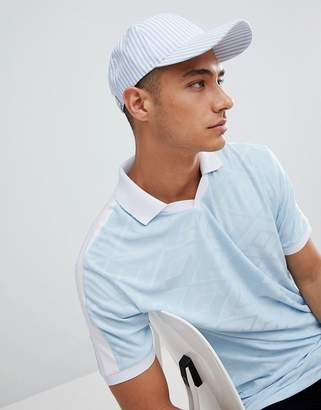 Asos DESIGN Baseball Cap In Blue & White Stripe