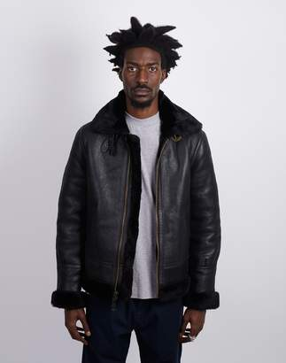 Schott NYC LC1259 B3 Double Face Sheepskin Jacket Black