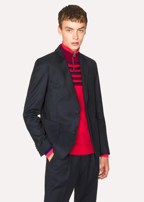 Paul Smith Men's Mid-Fit Two-Tone Navy Wool-Blend Twill Blazer