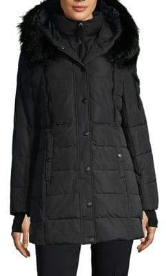 London Fog Thermatec Faux Fur Trim Parka