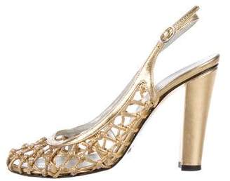 Dolce & Gabbana Metallic Leather Caged Slingback Pumps