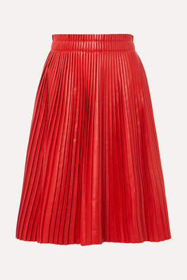 we11done - Pleated Faux Leather Skirt - Red