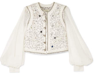 Etro Embellished Cotton-blend Cloqué And Silk-chiffon Gilet - Ivory