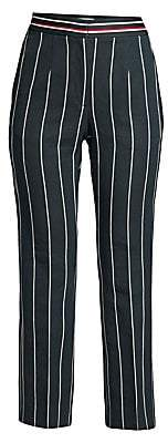 Sandro Women's Blanche Striped Cropped Linen-Blend Trousers
