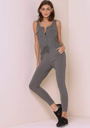 abb8777fc76 Missy Empire Missyempire Harriet Charcoal Sleeveless Button Up Ribbed  Jumpsuit