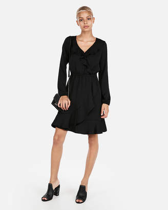 Express Petite Ruffle Elastic Waist Wrap Dress
