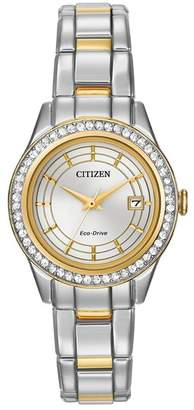 Citizen Women's Eco-Drive Silhouette Swarovski Crystal Accented Two-Tone Bracelet Watch, 28mm