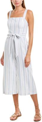 Lavender Brown Striped Linen-Blend Jumpsuit
