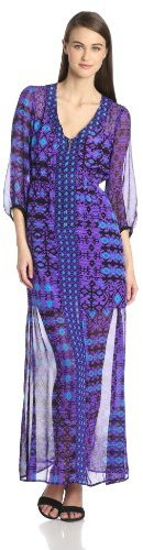 Nanette Lepore Women's Apache Elbow Sleeve V-Neck Maxi Dress