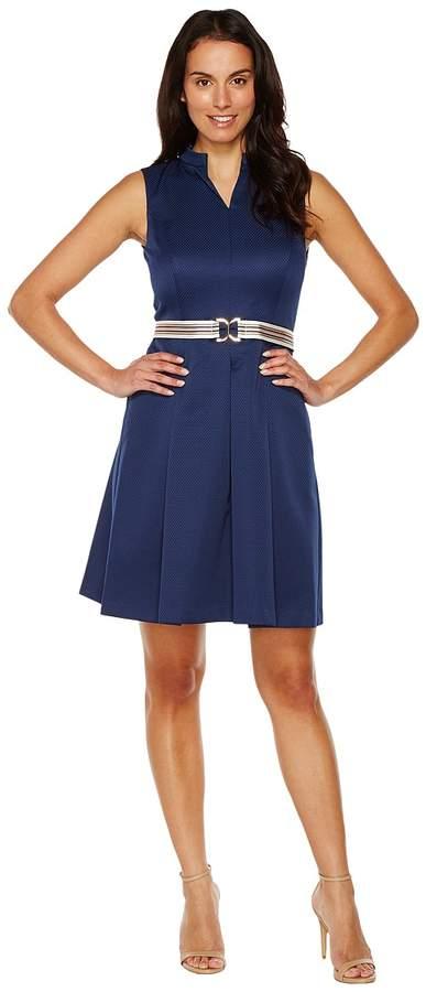 Ellen Tracy Fit Flare Pique Dress with Striped Belt Women's Dress