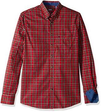 Izod Men's Big and Tall Tartan Button Down Non Iron Plaid Long Sleeve Shirt