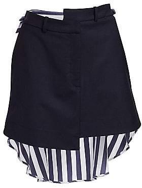 Monse Women's Striped Asymmetric Shirt-Back Skirt - Size 0