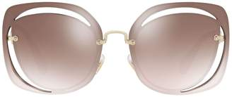 Miu Miu Mirrored Cut-Out Irregular Sunglasses