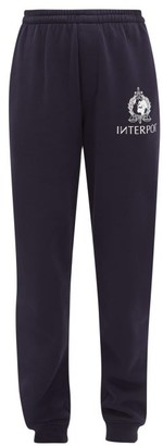 Vetements Interpol Print Cotton Blend Jersey Track Pants - Womens - Navy