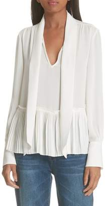 Frame Pleated Peplum Blouse