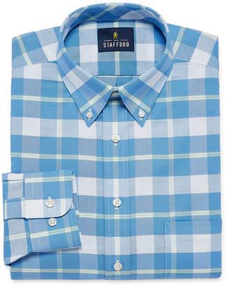 STAFFORD Stafford Travel Wrinkle Free Oxford Long Sleeve Oxford Plaid Dress Shirt