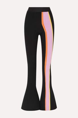 Ellery Bottleneck Striped Ribbed-knit Flared Pants - Black