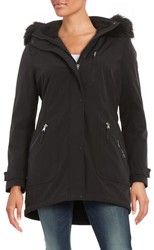 Calvin KleinCalvin Klein Faux Fur-Trimmed Hooded Anorak Coat