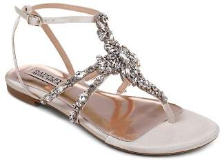 Badgley Mischka Women's Hampden Embellished Satin Thong Sandals