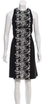 Giambattista Valli Guipure Lace-Accented Knee-Length Dress