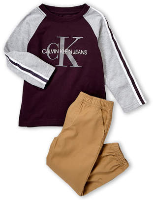 Calvin Klein Jeans Toddler Boys) Two-Piece Long Sleeve Raglan Tee & Khaki Pants Set