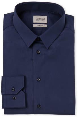 Armani Collezioni Blue Slim Fit Dress Shirt