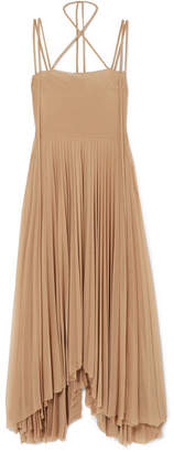 Awake Maya Asymmetric Pleated Chiffon Dress - Beige