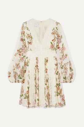Giambattista Valli Lace-trimmed Floral-print Silk-georgette Mini Dress - Ivory