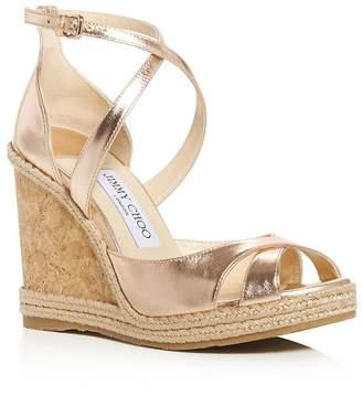 Jimmy Choo Women's Alanah 105 Crisscross Wedge Sandals