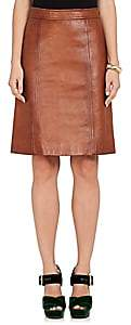 Prada Women's Leather A-Line Skirt-Beige, Tan