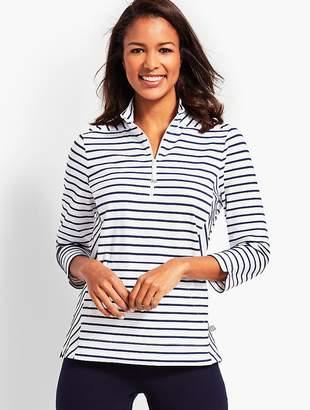 Talbots Half-Zip Mockneck Stripe Pullover