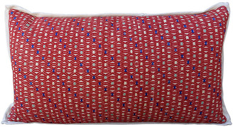 One Kings Lane Vintage Red and White Cotton Woven Hmong Pillow
