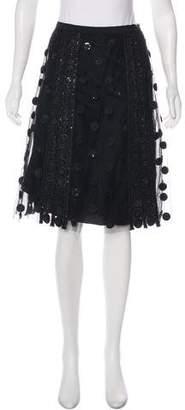 Oscar de la Renta Embellished Mesh Skirt