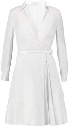 Halston Wrap-Effect Metallic Striped Cotton-Blend Dress
