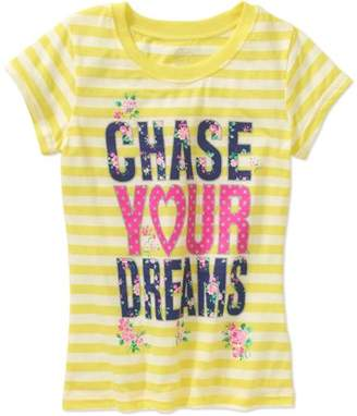Generic Girls' Chase Your Dreams Floral Short Sleeve Crew Neck Graphic T-Shirt