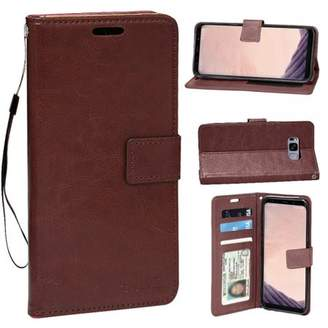 HLC Real Plain Leather Wallet Case for Galaxy S8 Plus (Brown)