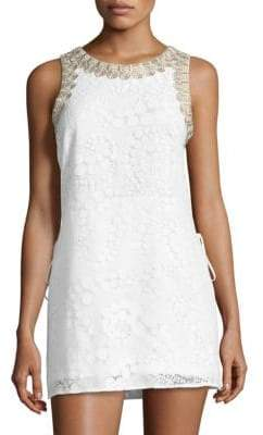 Lilly Pulitzer Donna Embroidered-Trim Lace Romper