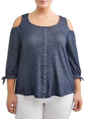 French Laundry Women's Plus Size Cold Shoulder Button Up Denim Top