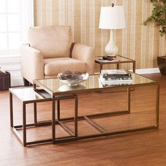 Southern Enterprises Rowley Modern Glass Coffee and End Table 3-Piece Set, Antique Bronze