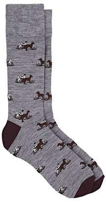 Corgi Men's Dog-Pattern Wool-Blend Mid-Calf Socks